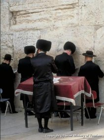Jerusalem - Hasidim pray at the Western Wall (Kotel)