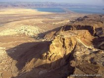 Massada -Aerial view from north-west, looking toward the Dead Sea (afternoon)