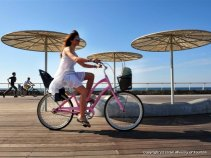 Tel Aviv port - cyclist on the boardwalk  (photo Rafael Ben Ari)
